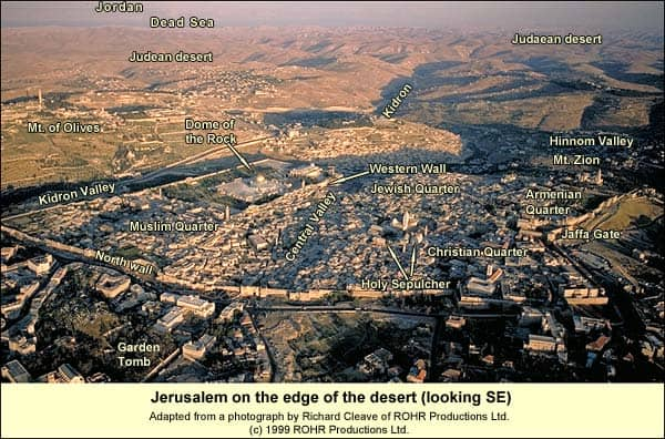 Jerusalem on the edge of the desert (looking SE - Labeled).