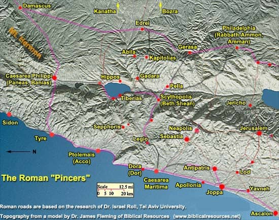Map showing the Roman pincers
